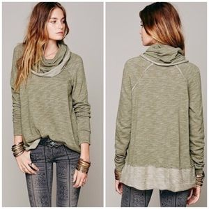 Free People Cocoon Cowl Neck Green Shirt Sz M/L